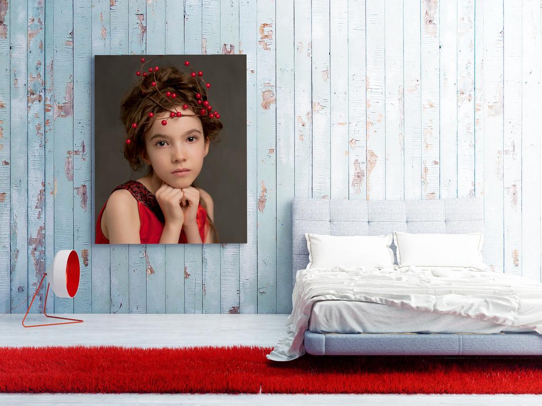 poster on blue wooden wall, bedroom 3d illustration